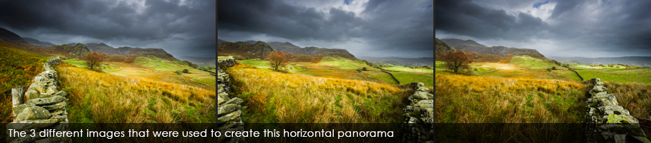 Three images for horizontal Panorama images