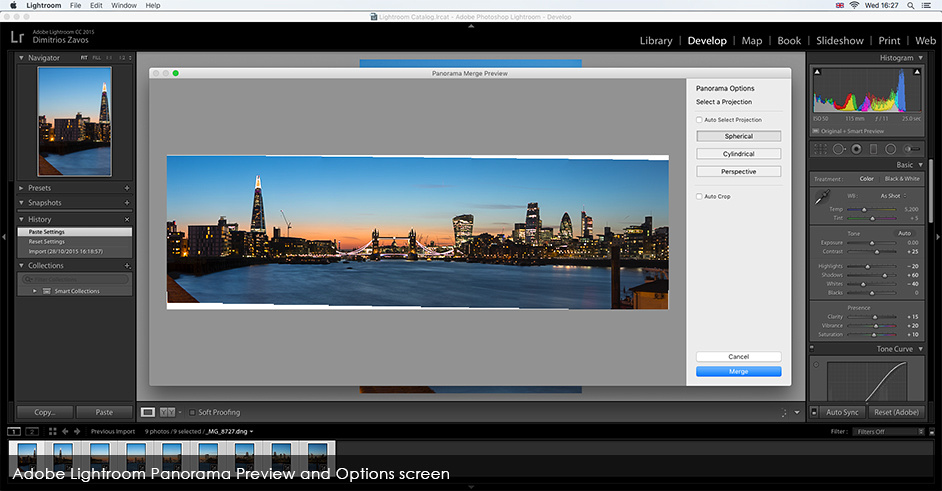 Adobe Lightroom Panorama Preview and Options screen