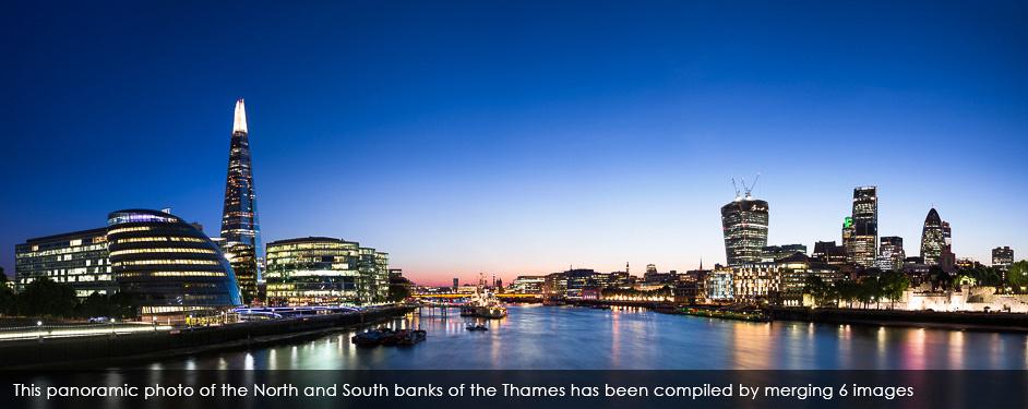 London skyline from Tower Bridge panorama