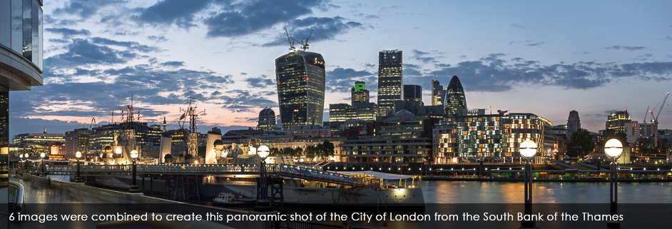 City of London from South Bank panorama